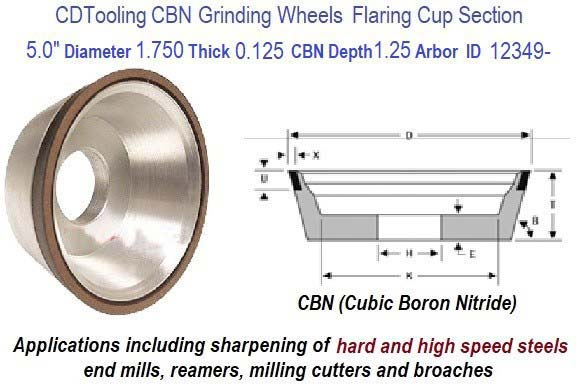 11V9 5.0 Inch Diameter 1.75 Thickness 1.250 Arbor Hole 0.1250 Depth 150 Grit 100 Concentration Value Line CBN Grinding Wheel ID 12349-