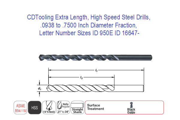 Ground Finish 12 Length 118 Degrees Conventional Point Round Shank 15//64 Size Pack of 1 Spiral Flute Michigan Drill 212 Series High-Speed Steel Extra-Long Length Drill Bit