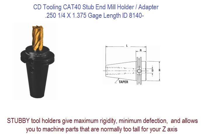 .250 1/4 X 1.375 Gage CAT-40 Stub End Mill Holder / Adapter ID 8140-