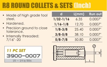 1/8 - 3/4 by 16ths Inch - 11pc R8 Round Collet Set ID 20484-
