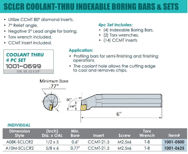 SCLCR Indexable Boring Bars - Coolant Thru - 1/2, 5/8 Inch Diameter ID 55864-