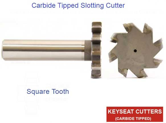 Square Tooth Carbide Tipped Slotting/Woodruff Cutter - 2.50 Cutting Diameter , 3/4 Inch Shank 3.5 OAL , .375 thru .505 Widths , Aluminum Flutes - ID: 1633-A6-2500-375-505-