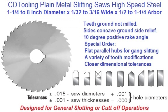 Plain Metal Slitting Saws HSS