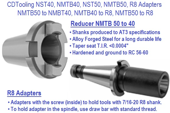 NMTB40, NST50, NMTB50, R8, Reducers / Adapters