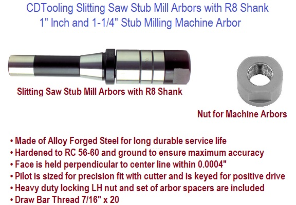 Slitting Saw Stub Mill Arbors with R8 Shank