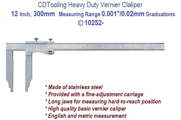 12 Inch, 450 mm Measuring Range, 0.001 Inch 0.02mm Graduation, Heavy Duty Vernier Caliper ID 1116-