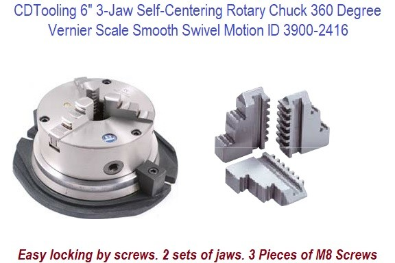 6 Inch 3 Jaw Self Centering Rotary Chuck 60 Degree Vernier Scale with Smooth Swivel Motion ID 16293-