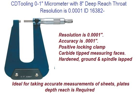 0 to 1 Inch Micrometer with 8 Inch Deep Reach Throat Resolution is 0.0001 Inch ID 16382-