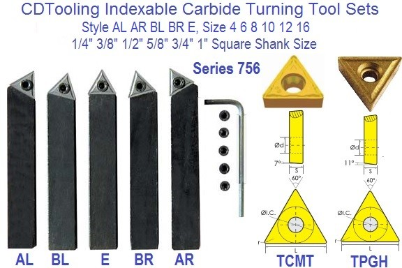 Indexable Turning Tool Bits AL AR BL BR E, 4 6 8 10 12 16 1/4 3/8 1/2 5/8 3/4 1 Inch Series ID 756-