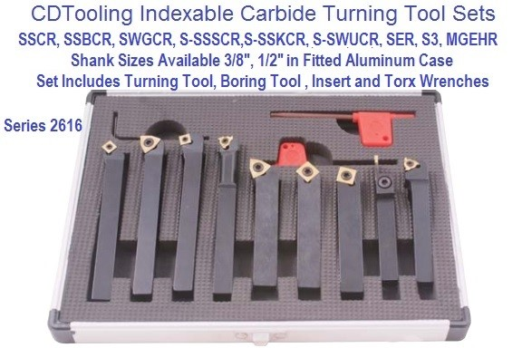 Indexable Boring, Turning Tool 9 Pc  Set 3/8 or 1/2 Shank Sizes Series 2616-