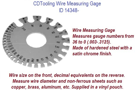 Wire Measuring Gage, Measures gauge numbers from 36 to 0 (.003-.3125). ID 14348-