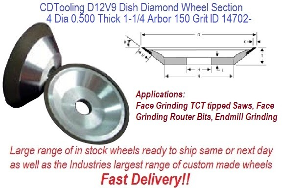 D12V9 4 Inch Diameter 0.500 Thick 1.25 Arbor Hole 0.062 Depth 150 Grit 75 Concentration ValRite Diamond Dish Grinding Wheel ID 14702-