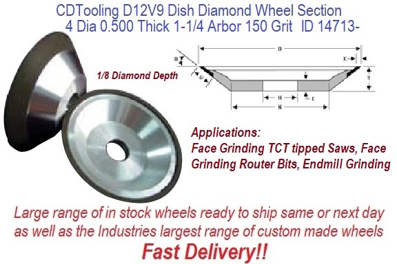 D12V9 4 Inch Diameter 0.500 Thick 1.25 Arbor 0.125 Depth 150 Grit 75 Concentration ValRite Diamond Dish Grinding Wheel ID 14713-