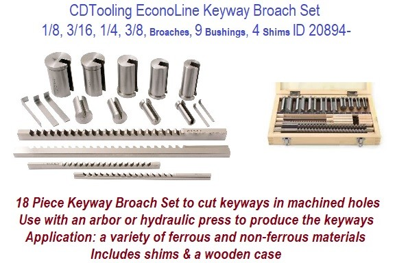 18 Pcs 1/8 3/16 1/4 3/8 EconoLine Keyway Broach Set 9 Bushings 4 Shim and Case ID 20894-