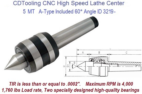 CNC High Speed Live Centers MT5 60 Degree Point A Type 4000 RPM .0002 TIR ID 3219-