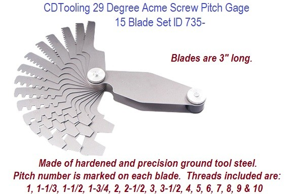 29 Degree Acme Screw Pitch Gage 15 Blade Set ID 735-