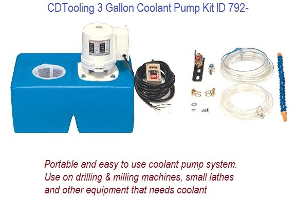 3 Gallon  Coolant Pump Kit for use with Drill, Mill, Lathes... 110V 1/8 HP ID 792-
