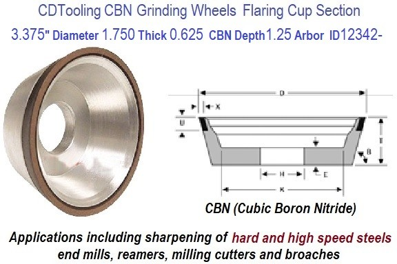 11V9 3.375 Inch Diameter 1.50 Thickness 1.250 Arbor Hole 0.125 Depth 150 Grit 100 Concentration Value Line CBN Grinding Wheel ID 12342-
