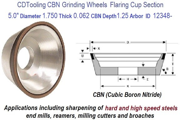 11V9 5.0 Inch Diameter 1.75 Thickness 1.250 Arbor Hole 0.062 Depth 150 Grit 100 Concentration Value Line CBN Grinding Wheel ID 12348-