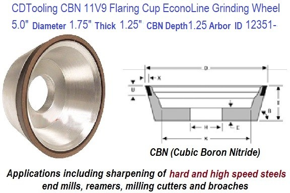 11V9 5.0 Inch Diameter 1.75 Thickness 1.250 Arbor Hole 0.625 Depth 150 Grit 100 Concentration EconoLine CBN Grinding Wheel ID 12351-