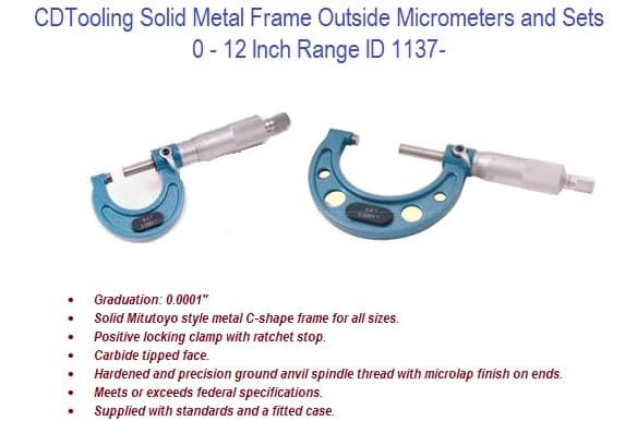 0 - 12 Inch Range Solid Metal Frame Outside Micrometers and Sets ID 1137-