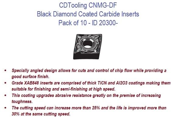CNMG-DF Black Diamond Coated Carbide Inserts - 10 Pack ID 20300-
