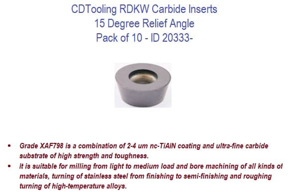 RDKW 15 Degree Relief Angle Carbide Inserts - 10 Pack ID 20333-