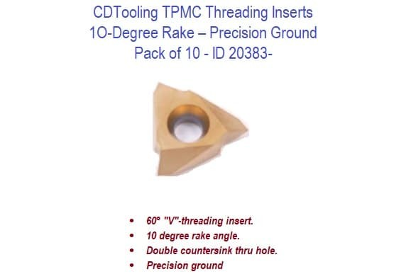 TPMC 10-Degree Rake Threading Inserts - 10 Pack ID 20383-