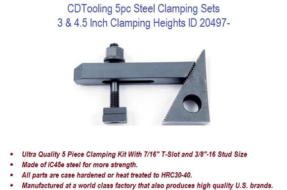 3, 4.5 Clamp Height - 5pc Steel Clamping Sets ID 20497-