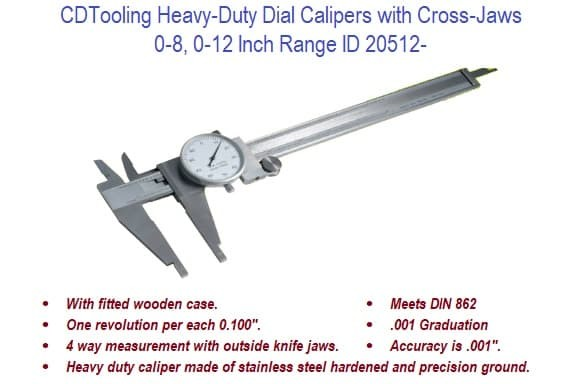 0-8, 0-12 Inch Range - Heavy Duty Dial Calipers with Cross Jaws ID 20512-