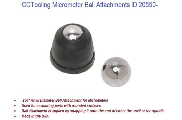 Micrometer Ball Attachments ID 20550-