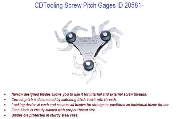 Screw Pitch Gages ID 20581-