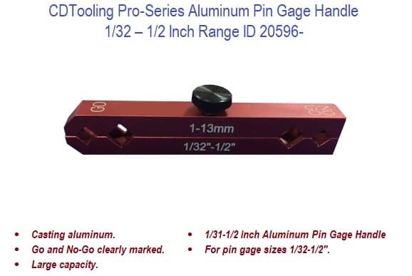 1/32 - 1/2 Inch Pro-Series Aluminum Pin Gage Handle ID 20596-
