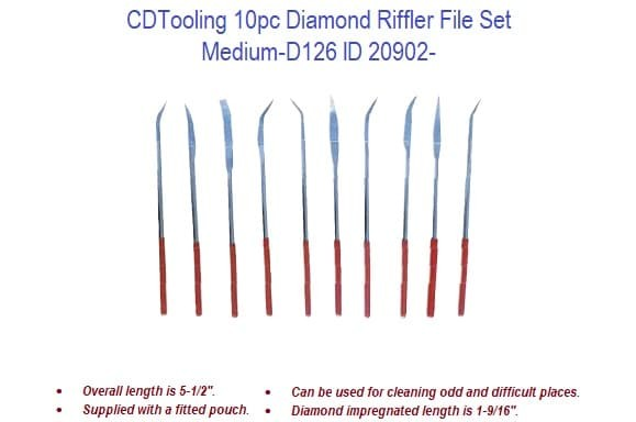 10pc Diamond Riffler File Set - Medium-D126 ID 20902-