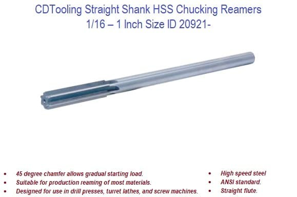 1/16 - 1 Inch Straight Shank HSS Chucking Reamers ID 20921- (COPY)