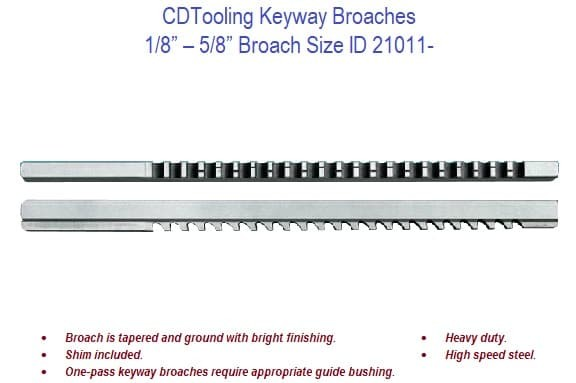 Keyway Broaches - 1/8 - 5/8 Broach Size ID 21011-