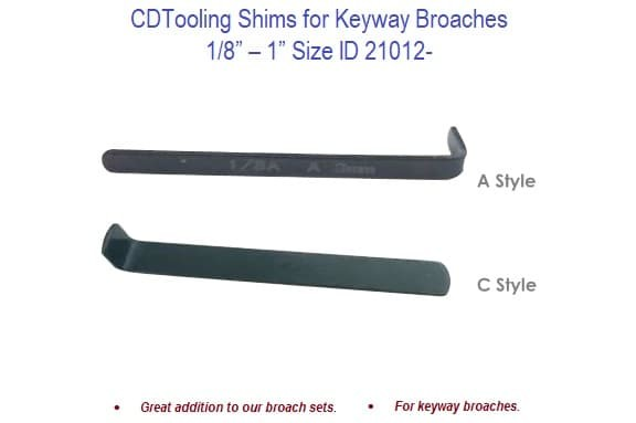 Shims for Keyway Broaches - 1/8 - 1 Inch Size ID 21012-