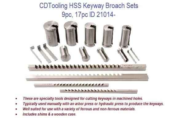 HSS Keyway Broache Sets - 17pc, 9pc Sets ID 21014-