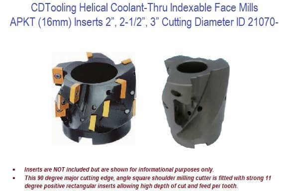 Helical Coolant Thru Indexable Face Mills - Apkt 16mm Inserts - 2, 2-1/2, 3 Inch Cutting Dia ID 21070-
