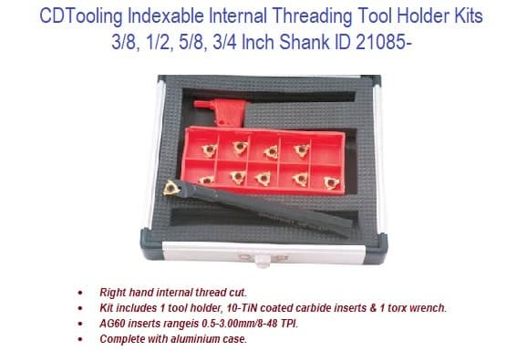 Indexable Internal Threading Tool Holder Kits - 3/8 - 3/4 Inch Shank ID 21085-