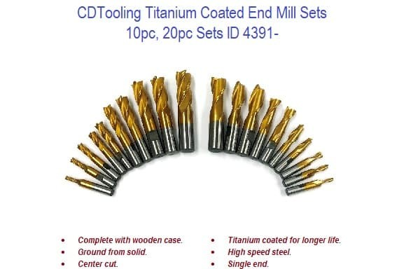 Titanium Coated End Mills - 20pc, 10pc Sets ID 4391-