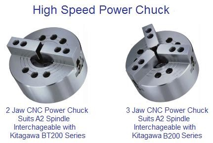 CNC Power Chuck 2 and 3 Jaw Interchangeable with Kitagawa 8200 Series Diect A-2 Mount