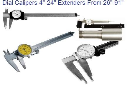Precision Dial Calipers 4, 6, 8, 12, 18, 20, 24 Inch Long ID 1115-