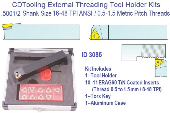Indexable Carbide Laydown External Threading Kit 16-48 TPI .5 to 1.5mm Pitch, 1/2 Shank 11ERA60 Insert ID 3085-2301-1625