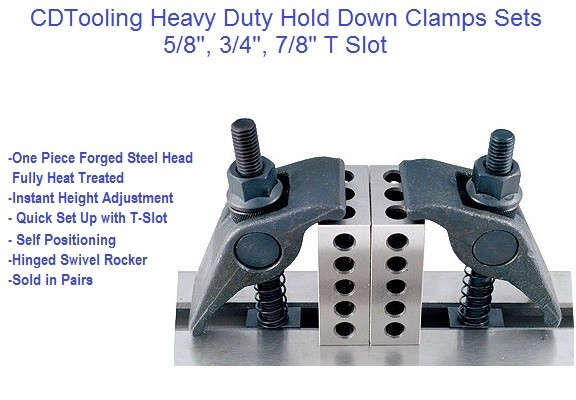 Heavy Duty Hold Down Clamp Set Pair 5/8, 3/4, 7/8 T-Slot ID 2470-