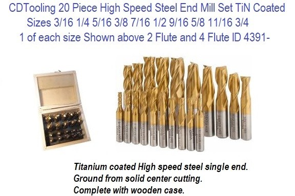 20 Piece 3/16 to 3/4 2 Flute and 4 Flute End Mill Set High Speed Steel TiN Coated ID 4391-8000-0020