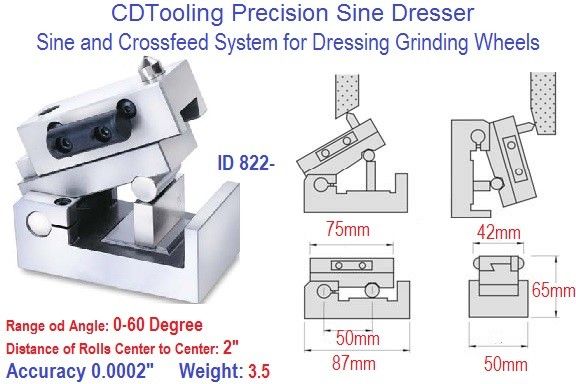 Precision Sine and Cross Feed Grinding Wheel Dresser ID 822-
