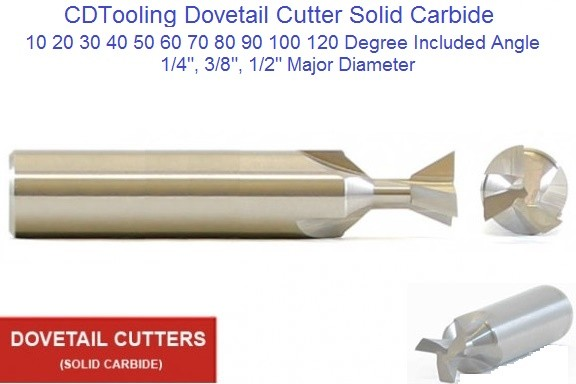 Dovetail Cutter Solid Carbide 1/4, 3/8, 1/2 Diameter 10 20 30 40 50 60 70 80 90 100 120 Degree Angle ID 1822- (COPY)