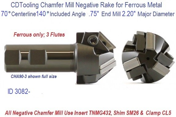 70 Degree Centerline 140 Degree Included Angle 0.75 x 2.20 Diameter Chamfer Mill  ID 3082-CHA140-3