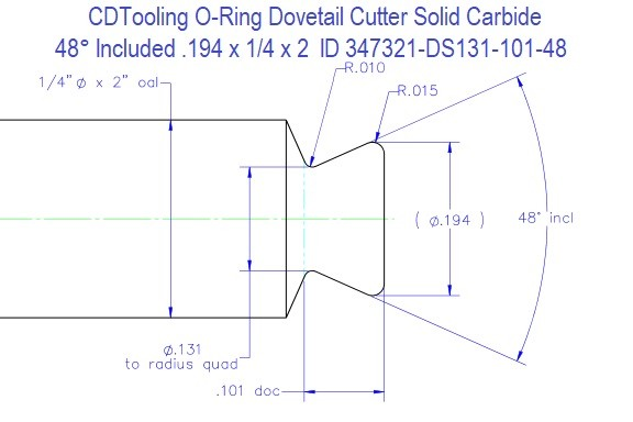 O-Ring Dovetail Cutter 48 Degree Included .194 Diameter ID 347321-DS131-101-48